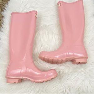 Hunter • Pink Tall Gloss Boots